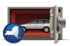 new-york map icon and the concept of secure car storage