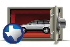 texas map icon and the concept of secure car storage
