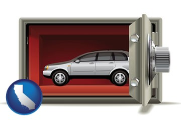 the concept of secure car storage - with California icon