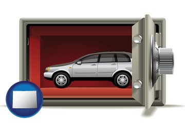 the concept of secure car storage - with Colorado icon