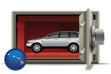 the concept of secure car storage - with Hawaii icon