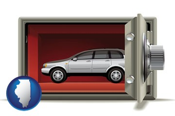 the concept of secure car storage - with Illinois icon