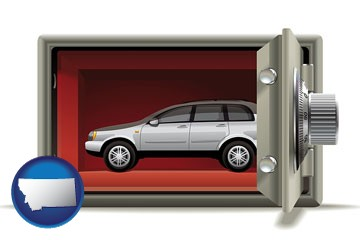 the concept of secure car storage - with Montana icon