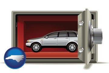 the concept of secure car storage - with North Carolina icon