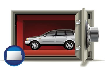the concept of secure car storage - with North Dakota icon
