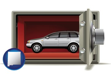 the concept of secure car storage - with New Mexico icon