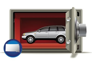 the concept of secure car storage - with South Dakota icon