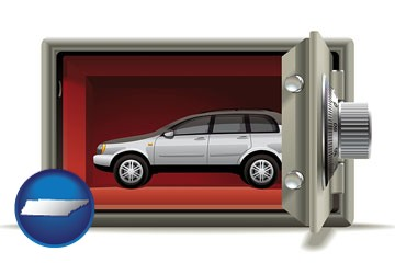 the concept of secure car storage - with Tennessee icon
